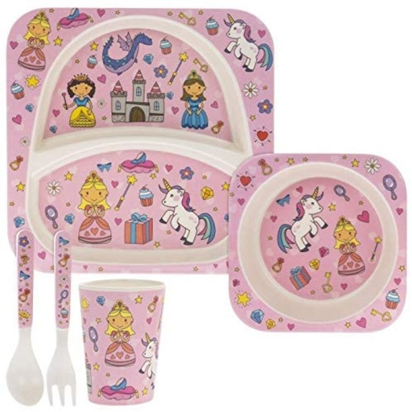 5 Piece Kiddies Bamboo Eating Set Fairytale Design By Lesser & Pavey