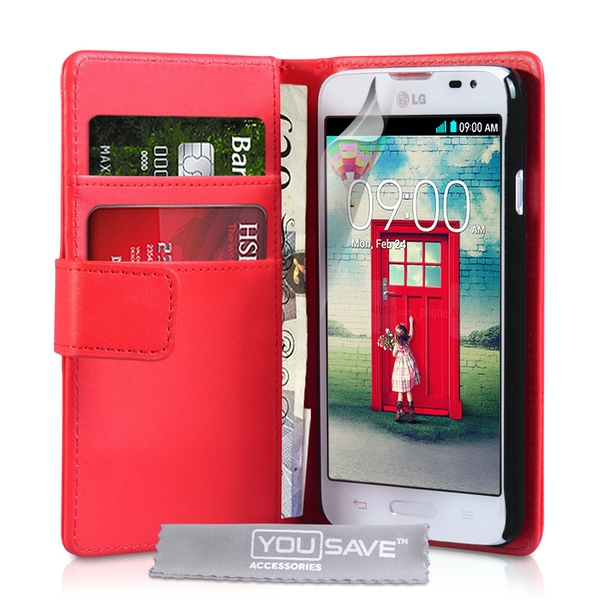 YouSave Accessories LG L90 Leather-Effect Wallet Case - Red