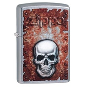 Zippo Rusted Skull Design Chrome Regular Windproof Lighter
