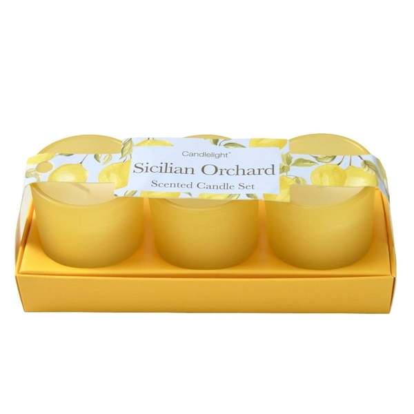Sicilian Orchard (Set of 3) Mini Votives Candles in Gift Box Basil and Wild Lemon Scent