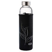 Xavax Glass Drinking Bottle with Sieve and Neoprene Sleeve, 500 ml, black