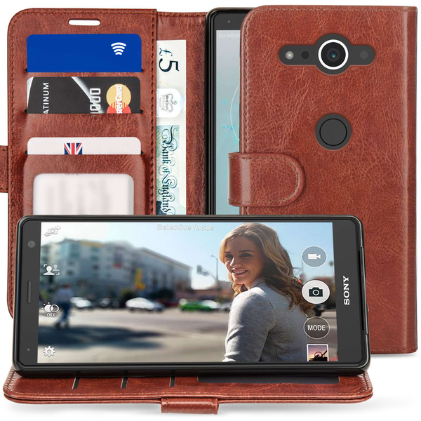 newest 91374 27bb9 Sony Xperia XZ2 Compact PU Leather ID Stand Wallet - Brown