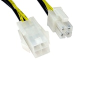4-Pin ATX (M) to 4-Pin ATX (F) 0.28m Black and Yellow OEM Internal Extension Cable