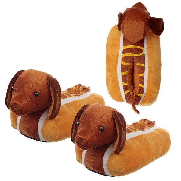 Hot Dog Unisex One Size Pair of Plush Slippers