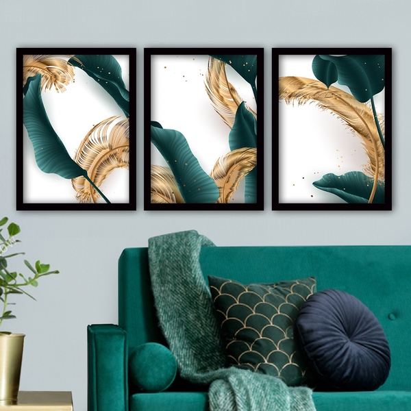3SC14 Multicolor Decorative Framed Painting (3 Pieces)
