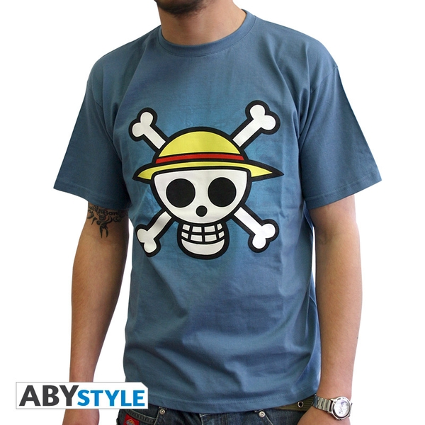 One Piece - Skull With Map Men's Small T-Shirt - Blue
