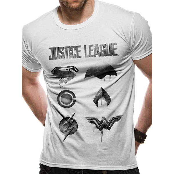 Justice League Movie - Logo And Symbols Men's X-Large T-Shirt - White