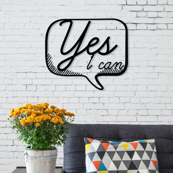 Yes Black Decorative Metal Wall Accessory