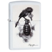 Zippo Spazuk Bird & Grenade White Matte Finish Windproof Lighter