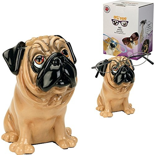 Arora 8017 Pug Tan Dog-Optipaws Glasses Holder by Little Paws, Multicolour, One Size