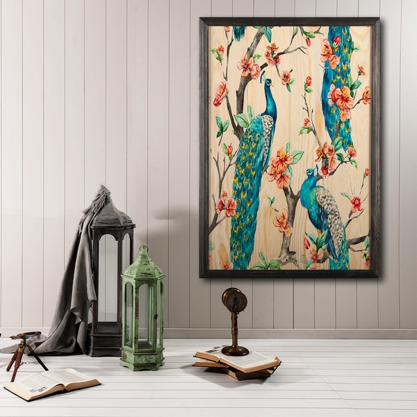 Peacock Heaven Multicolor Decorative Framed Wooden Painting