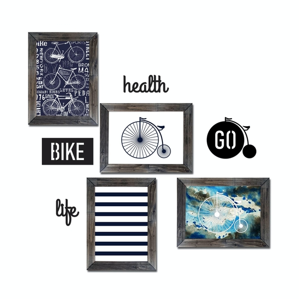 CYT-4 Multicolor Decorative Framed MDF Painting (8 Pieces)