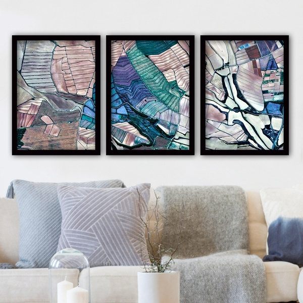 3SC20 Multicolor Decorative Framed Painting (3 Pieces)