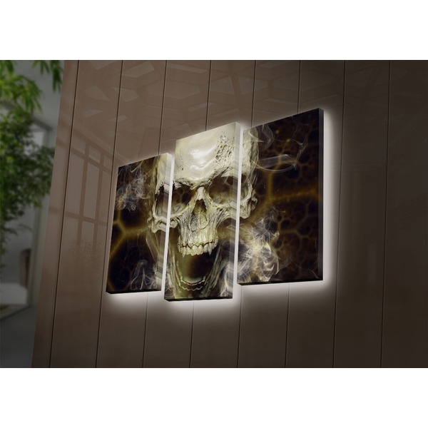 3PATDACT-17 Multicolor Decorative Led Lighted Canvas Painting (3 Pieces)