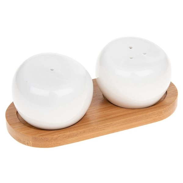 White Bamboo Round Shape Cruet Set