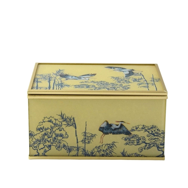 Glass Jewellery Box in Oriental Heron Design with Bevelled Edge