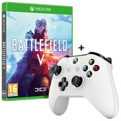 Battlefield V Xbox One Game + Official Microsoft White Wireless Controller