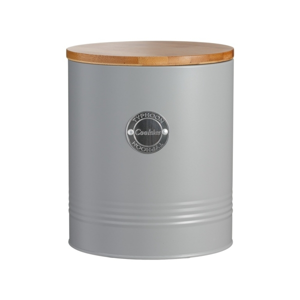 Typhoon Living Airtight Biscuit/Cookie Storage Canister with Bamboo Lid Grey 3.4 Litre
