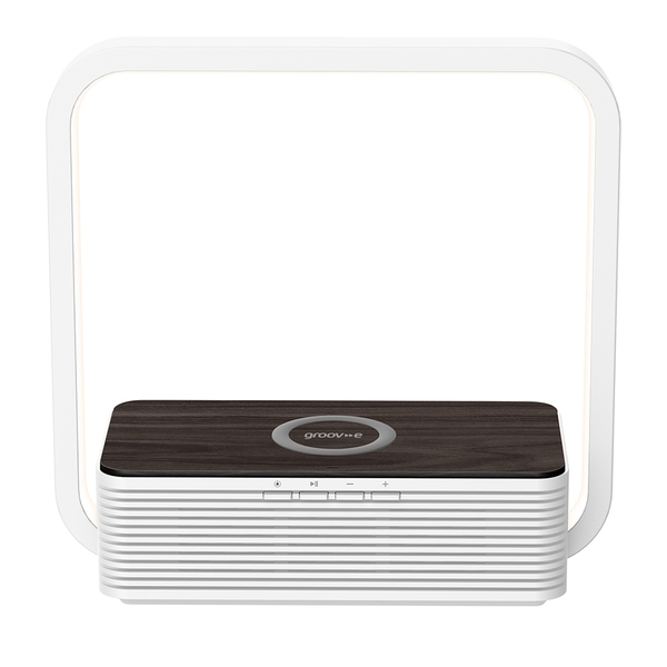 Groov-e GVWC03WE Aura Bluetooth Speaker with Wireless Charging Pad & Touch Light - White UK Plug