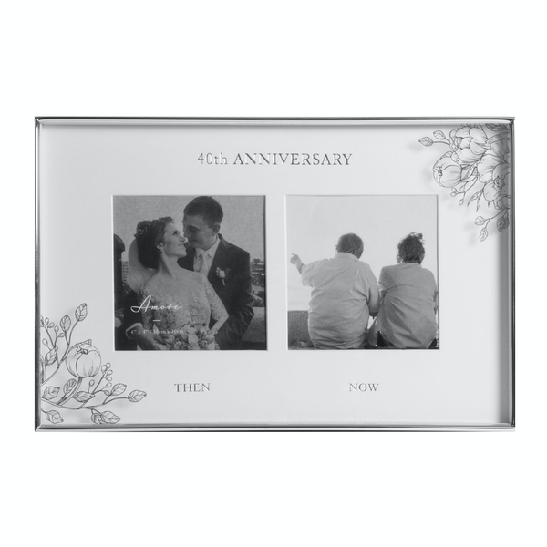 """4"""" x 4"""" - AMORE BY JULIANA Floral Double Frame - 40 Years"""