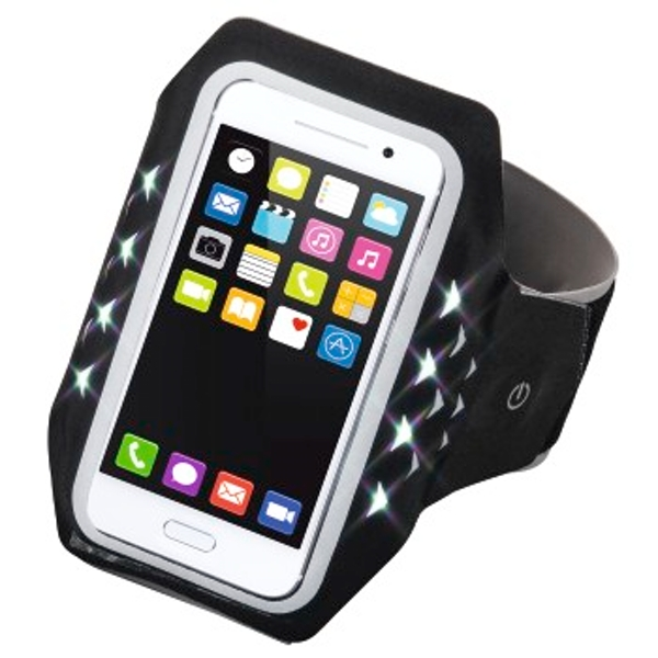 """Hama """"Running"""" Sports Arm Band for Smartphones, Size XXL, with LED, black"""