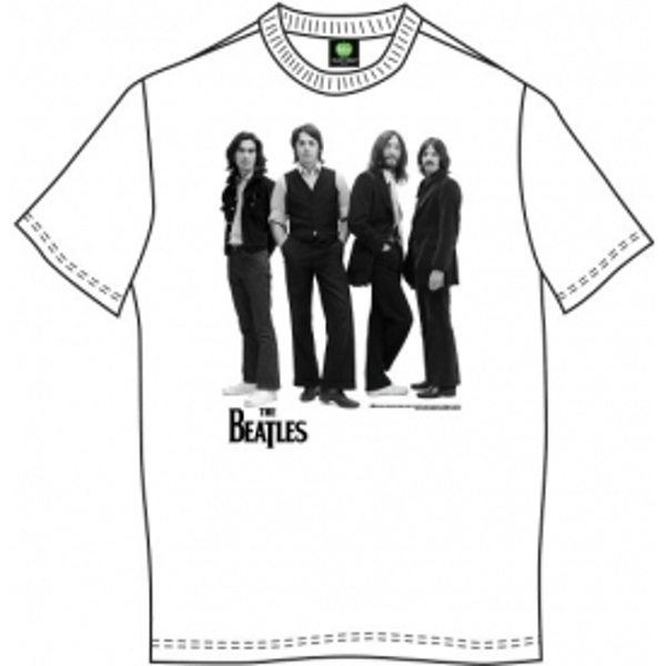 The Beatles Iconic Image Mens Wht T Shirt: Large