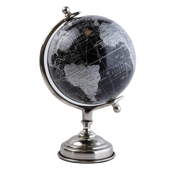 Medium Decorative Globe Black and Silver 26cm