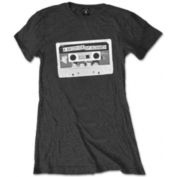 5 Seconds of Summer Tape Ladies Charcoal T Shirt: X Large