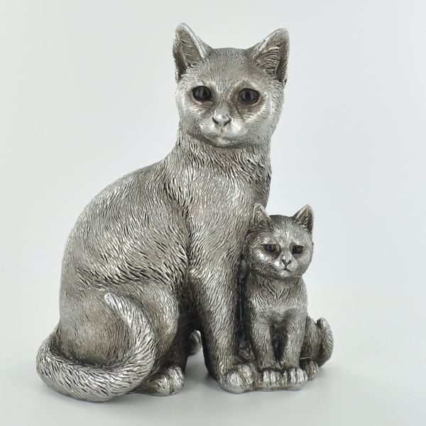 Antique Silver Cat & Kitten Standing Ornament