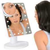 LED Light Up Illuminated Make Up Bathroom Mirror With Magnifier | M&W White New