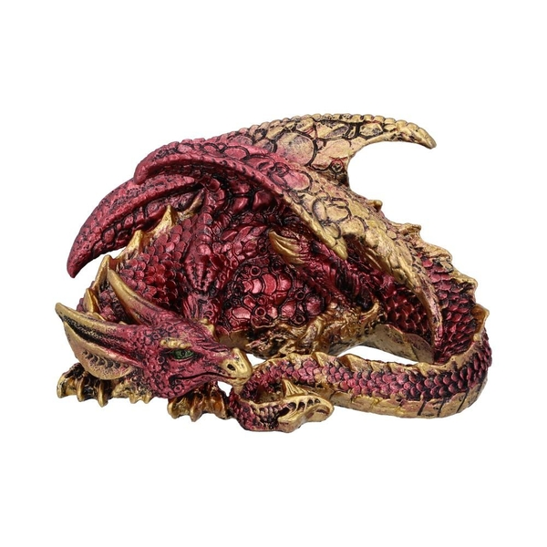 Aaden Red and Golden Resting Dragon Figurine