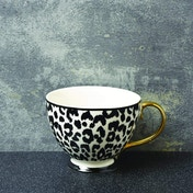 Animal Luxe Footed Mug Leopard Print Black with Gold Handle