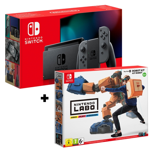 Nintendo Switch Console Grey Joy-Con Controllers + Labo Toy-Con: Robot Kit
