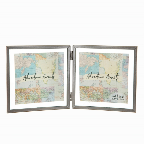 Sass & Belle Graphite Double Photo Frame