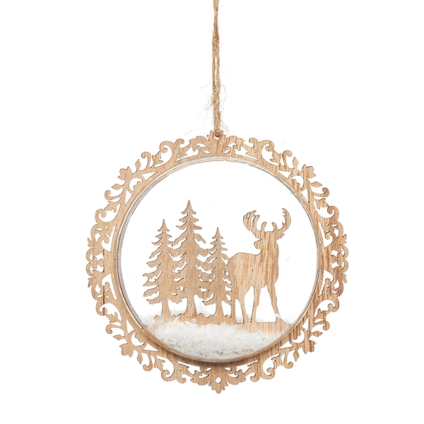 Sass & Belle Natural Wood Stag in Forest Flat Bauble