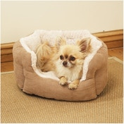 Rosewood Tan Faux Suede/ Plush Dog Bed 25