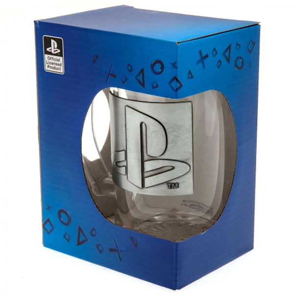 Playstation - Logo with Metal Badge 500ml Glass Stein Gift Box Included - Image 1