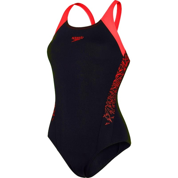 Speedo Boom Splice Muscleback Swimsuit Black/Lava 32""