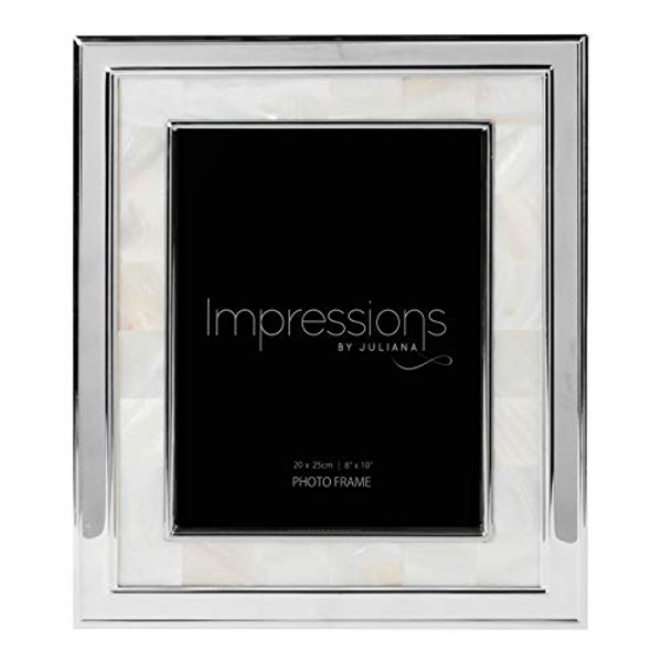 """8"""" x 10"""" - Steel Photo Frame with Mother of Pearl Border"""