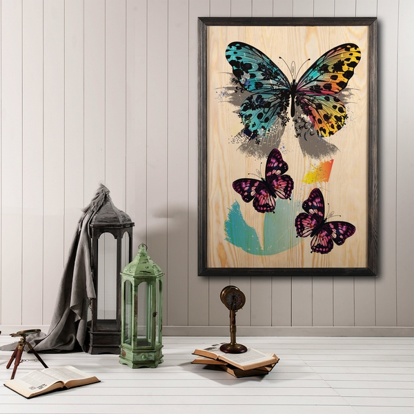 Butterfly Dream XL Multicolor Decorative Framed Wooden Painting