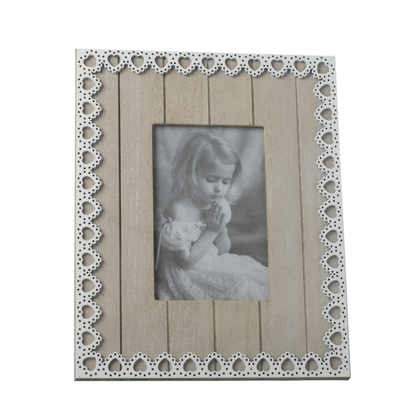 Lace Heart Rustic Wood Photo Frame By Heaven Sends