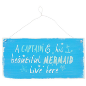 Captain And Mermaid Metal Sign