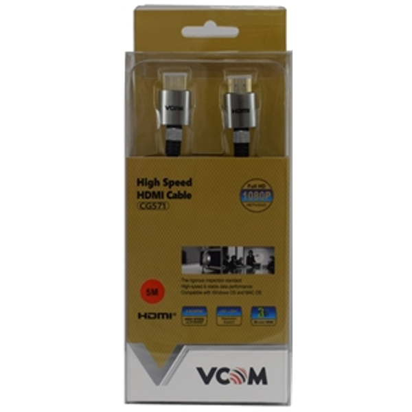 VCOM HDMI 1.4 (M) to HDMI 1.4 (M) 3m Black Nylon Braided Aluminium Headed Retail Packaged Professional Display Cable