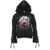 Angel of Death Women's Large Black Ribbon Gothic Hoodie - Black