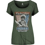 Jimi Hendrix Electric Ladyland Ladies Small T-Shirt - Green