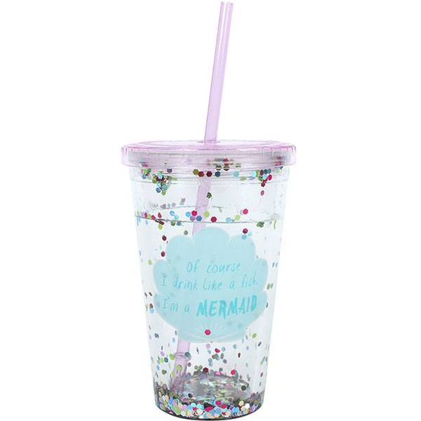 Of Course I drink like a Fish...Sequin Drinking Cup with Water