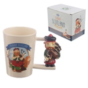 Scottish Piper Shaped Handle Ceramic Mug