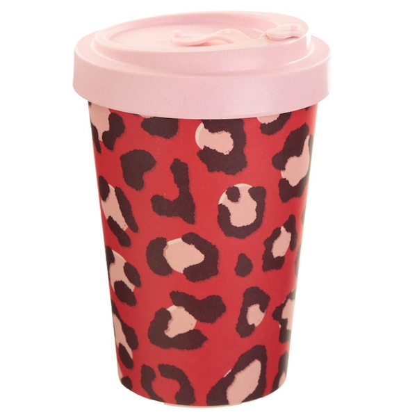 Wild Life Animal Print Reusable Screw Top Bamboo Composite Travel Mug