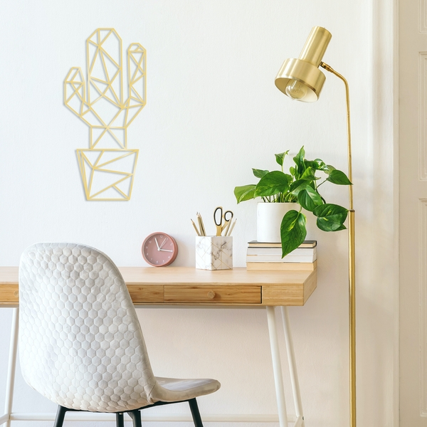 Cactus3 - Gold Gold Decorative Metal Wall Accessory