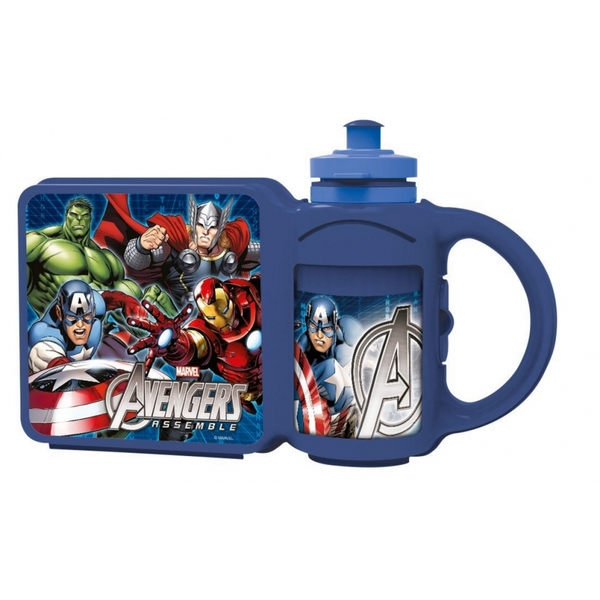 Avengers Childrens Lunch Box With Sports Bottle Combo Set